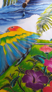 Painting the sky of the hand-painted batik Sun Conure parrot duvet cover.