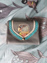 Pineapple conure parrot hand-tooled hand-painted leather clutch purse wallet in grey