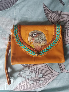 Pineapple conure parrot hand-tooled hand-painted leather clutch purse wallet in brown