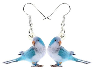 Blue mutation Quaker parrot Monk parakeet pierced drop earrings