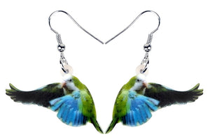 Flying Quaker parrot Monk parakeet pierced earrings