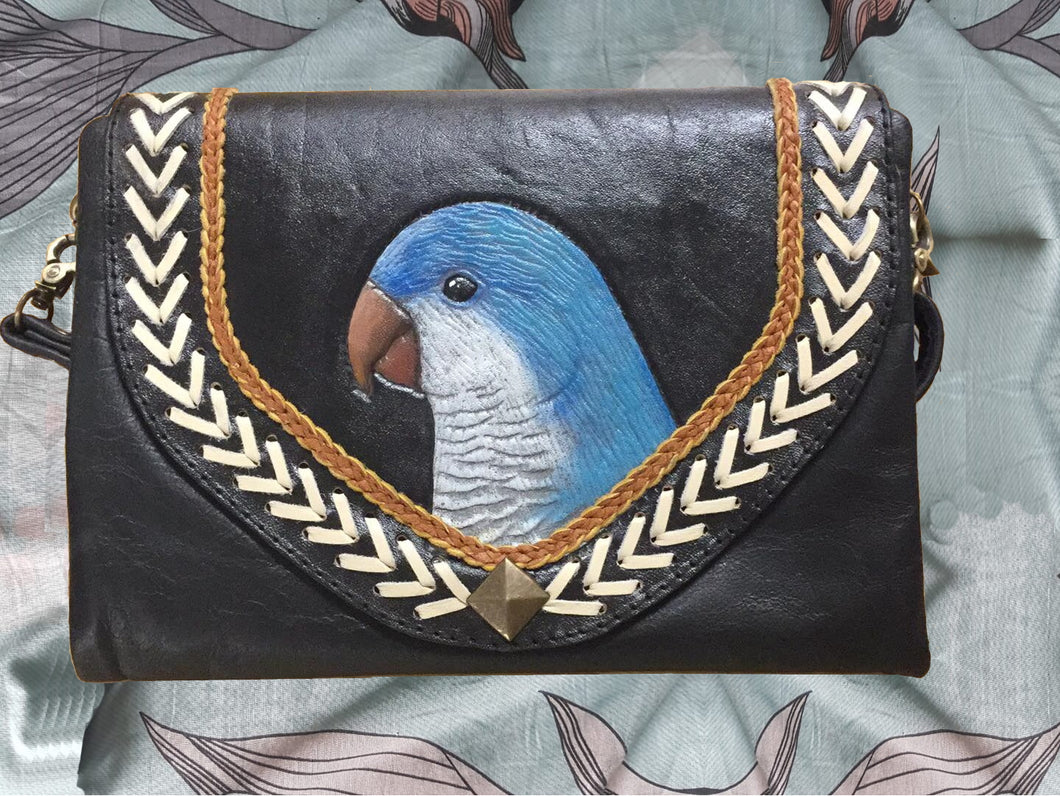 Blue mutation quaker parrot monk parakeet hand-tooled, hand-painted leather clutch
