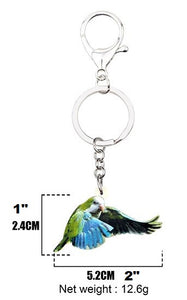 Measurements of the flying Quaker parrot keyring key chain