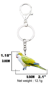 Measurement of the Quaker Parrot Monk Parakeet key ring keychain