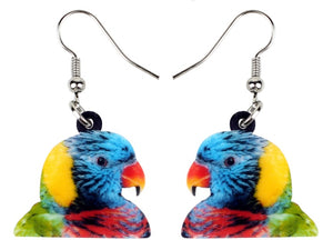 Fun & Cute Rainbow Lory Parrot Pierced Earrings
