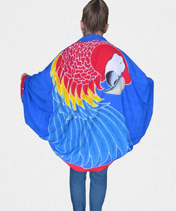 Handpainted batik Scarlet Macaw parrot sarong worn as a jacket