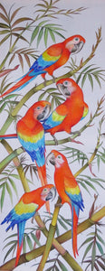 Scarlet Macaw parrots original painting - acrylic on rayon - unfinished