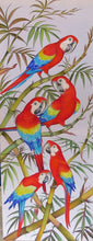 Scarlet Macaws original painting - acrylic on rayon - unfinished
