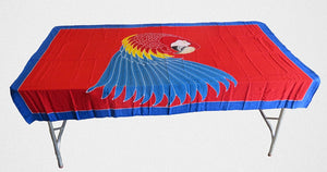 Scarlet Macaw parrot hand-painted batik sarong with blue border