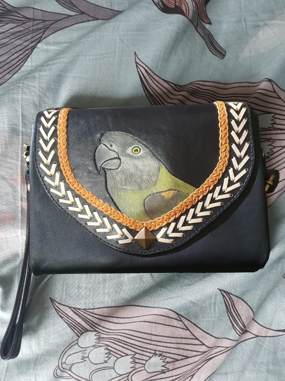Senegal parrot hand-tooled hand-painted leather clutch purse wallet in black
