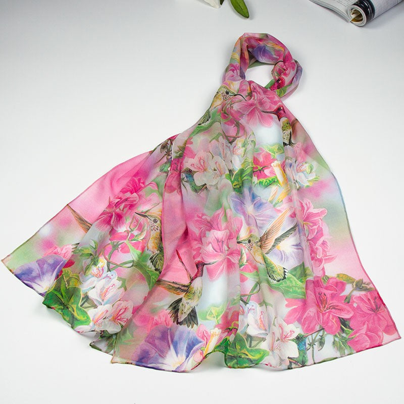 Beautiful, feminine genuine silk scarf adorned with hummingbirds & flowers