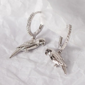 Platinum-plated on Sterling Silver parrot drop pierced earrings with Zircon stones