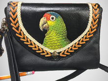 Red-lored Amazon parrot hand-tooled, handpainted leather clutch purse gift for parrot lovers