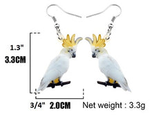 Size of Sulphur-crested cockatoo parrot earrings