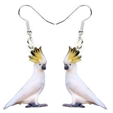 Cute Sulfur-crested Cockatoo parrot pierced earrings