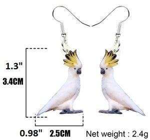 Sulphur-crested cockatoo parrot pierced earrings & size chart