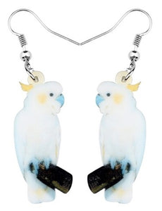 Sulfur-crested cockatoo parrot pierced drop earrings jewelry - version 3