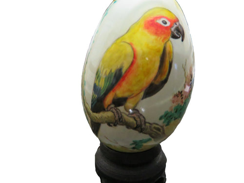Hand-painted Swan Egg of a Sun Conure