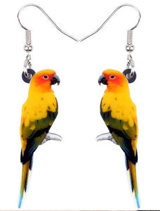 Cute Sun Conure parrot pierced earrings