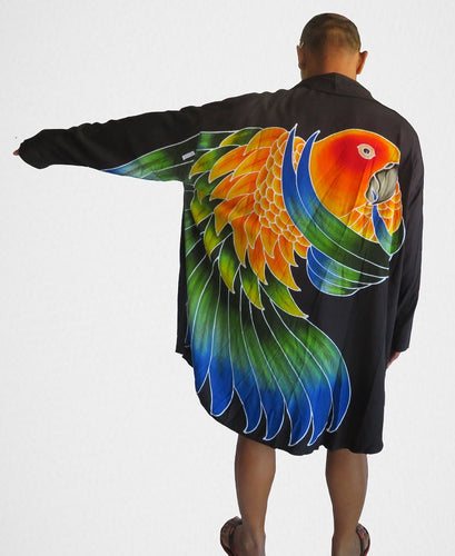 Sun Conure hand-painted batik women's wearable art jacket