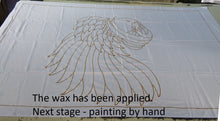Sun Conure hand-painted batik sarong - the wax has been applied and now it awaits painting