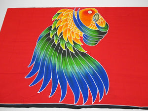 Sun Conure hand-painted batik sarong- red background
