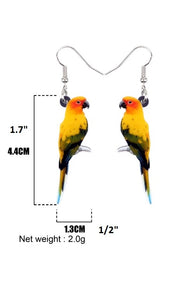 Dimensions of Sun Conure parrot pierced earrings
