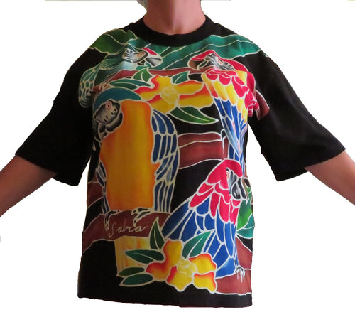 Hand-painted batik t-shirt with 4 macaw parrots - design on front & back