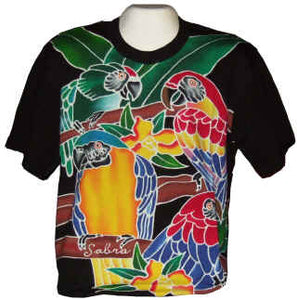 4 macaws hand-painted batik t-shirt - design on front & back