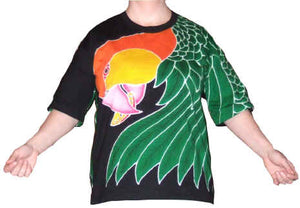 White-bellied Caique hand-painted batik on front of t-shirt