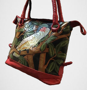 Moluccan cockatoo parrot leather bag -great gift for a parrot lover