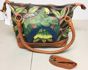 DYH Amazon hand-tooled, hand-painted leather purse overnight bag with cross-body strap