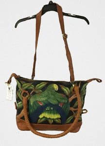 Double Yellow-headed Amazon Parrot hand-tooled hand-painted leather bag in brown