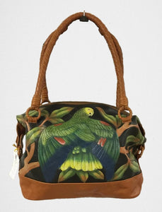 Double-yellow headed Amazon hand-tooled, hand-painted leather bag purse