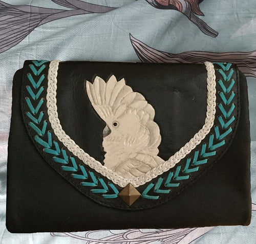 Umbrella cockatoo parrot hand-tooled, hand-painted leather clutch wallet purse in black