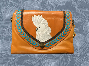 Umbrella cockatoo parrot hand-tooled, hand-painted leather clutch wallet purse in butterscotch