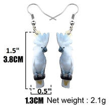 Perching Umbrella cockatoo parrot pierced drop earrings - measurements