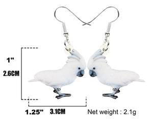 Dimensions of Umbrella Cockatoo Parrot Pierced Earrings