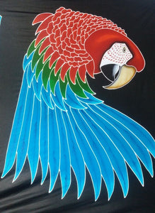 Greenwing macaw design for the hand-painted batik t-shirt and clothing line.