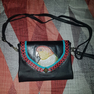 White-bellied caique parrot hand-tooled, hand-painted leather clutch wallet purse on black leather