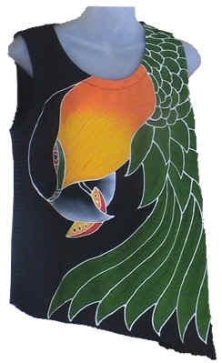 Black-headed Caique handpainted batik camisole / tank-top