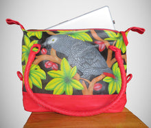 Hand-tooled, handpainted leather laptop or overnight African Grey parrot bag