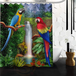 Two Macaws & Waterfall Shower Curtain