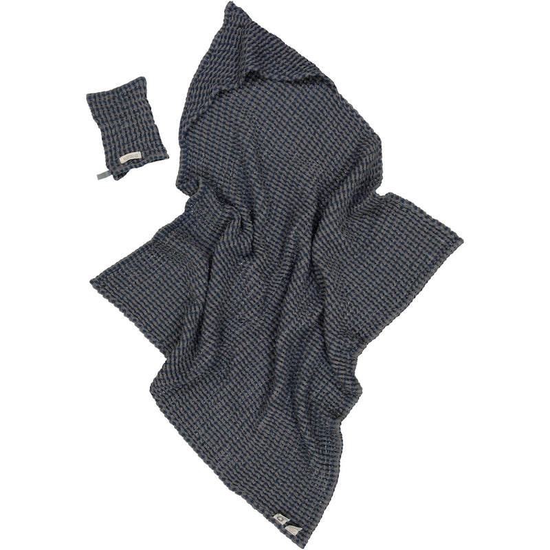 """Hooded towel"" stormy blue  Hildestad Copenhagen"