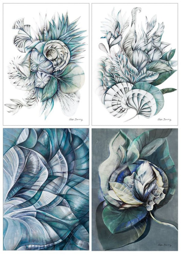 """Midnight Bloom - Artcards collection"" 4 stk. (A5)  Sofie Børsting"