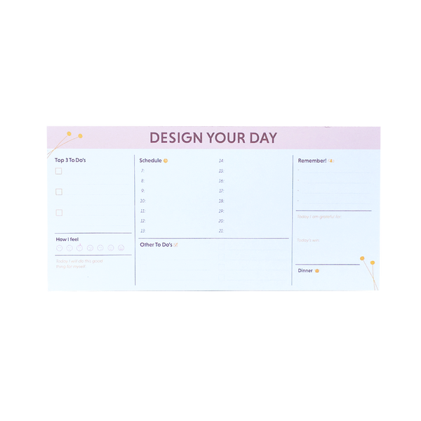 """Design Your Day"" planlægger - notesblok  Grand Stories Design"