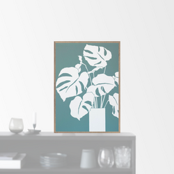 """White Monstera"" plakat (A3)  Dorthe Svarrer"
