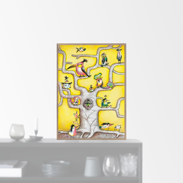 """Bird Tree Yellow"" plakat (A4)  Sofie Børsting"