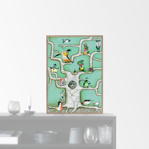 """Bird Tree Mint"" plakat (50x70cm)  Sofie Børsting"