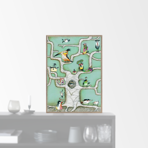 """Bird Tree Mint"" plakat (A3)"